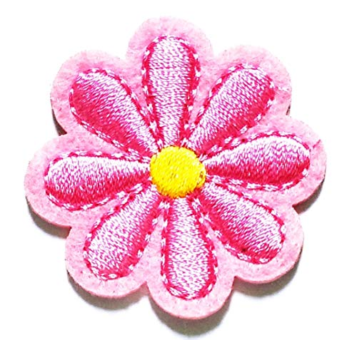 Nipitshop Patches Beautiful Pink Daisy Flower Handmade DIY Embroidery Patches Iron On Patches Sew On Applique Patch Custom Backpack Patches for Men Women Boys Girls -
