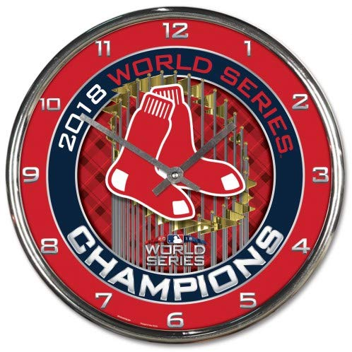 World Champions Round Clock - Wincraft Boston Red Sox 2018 World Series Champions Chrome Wall Clock
