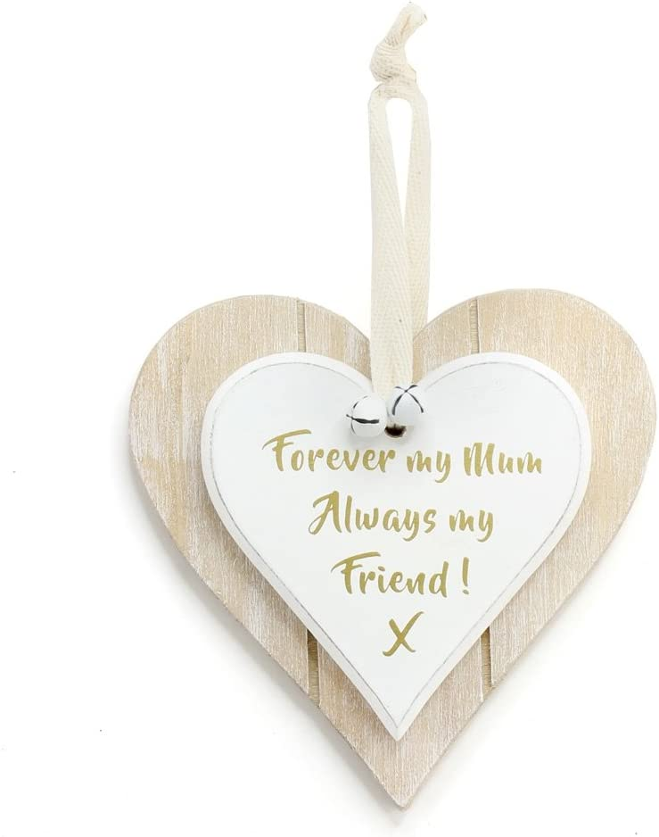 Wooden Double Heart Plaque Sign Friends Love Shabby Chic Gift East of  India
