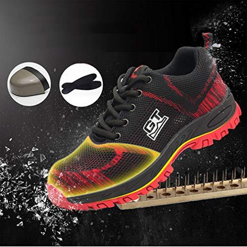 Hombre Acero Puntera Con Trabajo Rojo Zapatos Hibote Seguridad Zapatillas Unisex De Entrenador Mujer Deportivos x5wR1S8