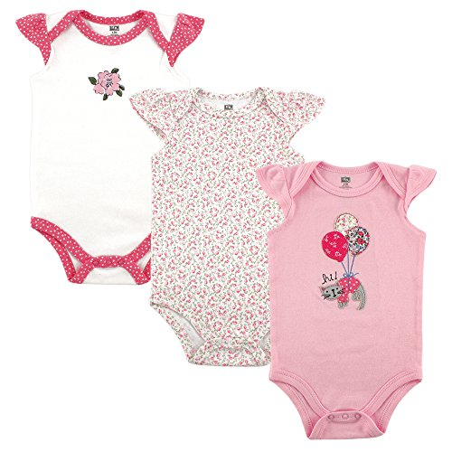 Hudson Baby Baby Girls' 3-Pack Hanging Bodysuit, Kitty, 3-6 Months (Baby Three Pack Bodysuits)