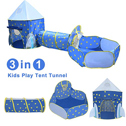 Yuhebaby Play Tent for Kids,Rocket Ship Pop Up Tent With Tunnel and Ball Pit for Toddlers (3-Piece Set), Kids Tents and Playhouses for Boys, Girls, Babies, Toddlers & Pets - for Indoor & Outdoor Use, with Carrying Case