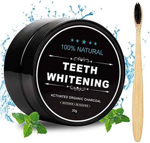 Activated Charcoal Natural Teeth Whitener Teeth Whitening Charcoal Powder Proven No Hurt on Enamel with Bamboo Brush
