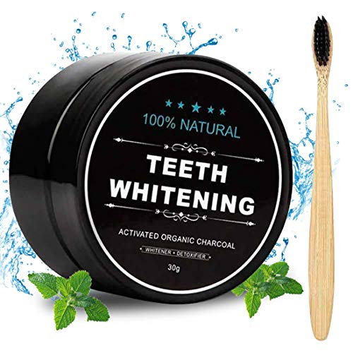 Activated Charcoal Natural Teeth Whitener Teeth Whitening Charcoal Powder Proven No Hurt on Enamel with Bamboo Brush ()