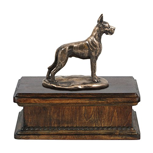 Great Dane (cropped), memorial, urn for dog's ashes, with dog statue, exclusive, - Urn Dane Great