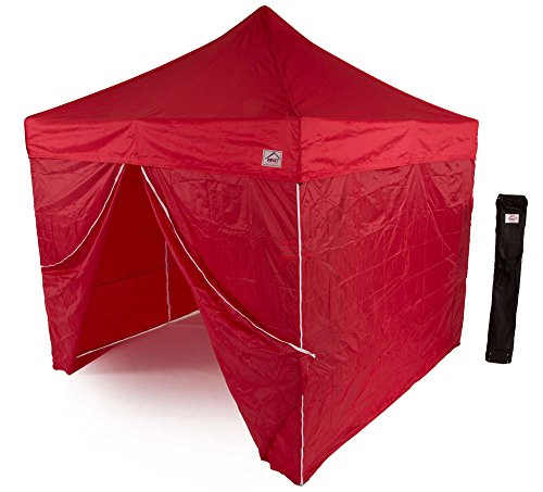 - Impact Canopy 10' x 10' Instant Pop-Up Canopy Tent, Sun and Rain Shelter with Sidewalls and Aluminum Frame, Red