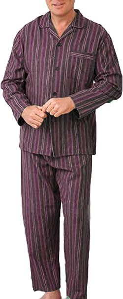Hombre Algodón Peinado Conjunto Pijama Pijama Pijama De Franela Sintética Dibujos De Rayas Diseño - Morado