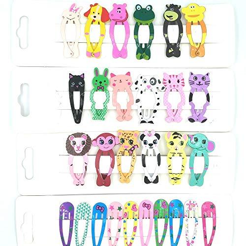 28 Pcs Animal Pattern Print Hair Clips Kids Cartoon Design Barrettes Girls Metal Snap Hairpin