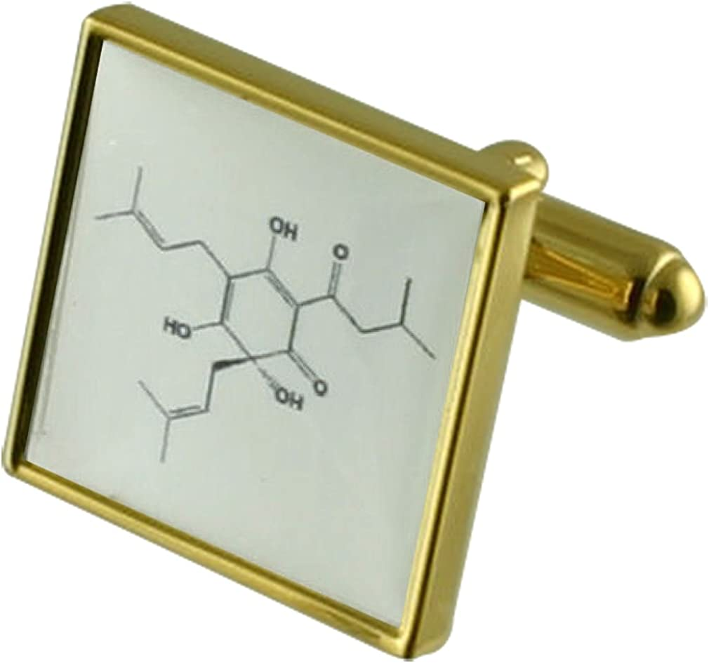 Select Gifts Beer Molecule Science Gold-tone Square Cufflinks with Pouch