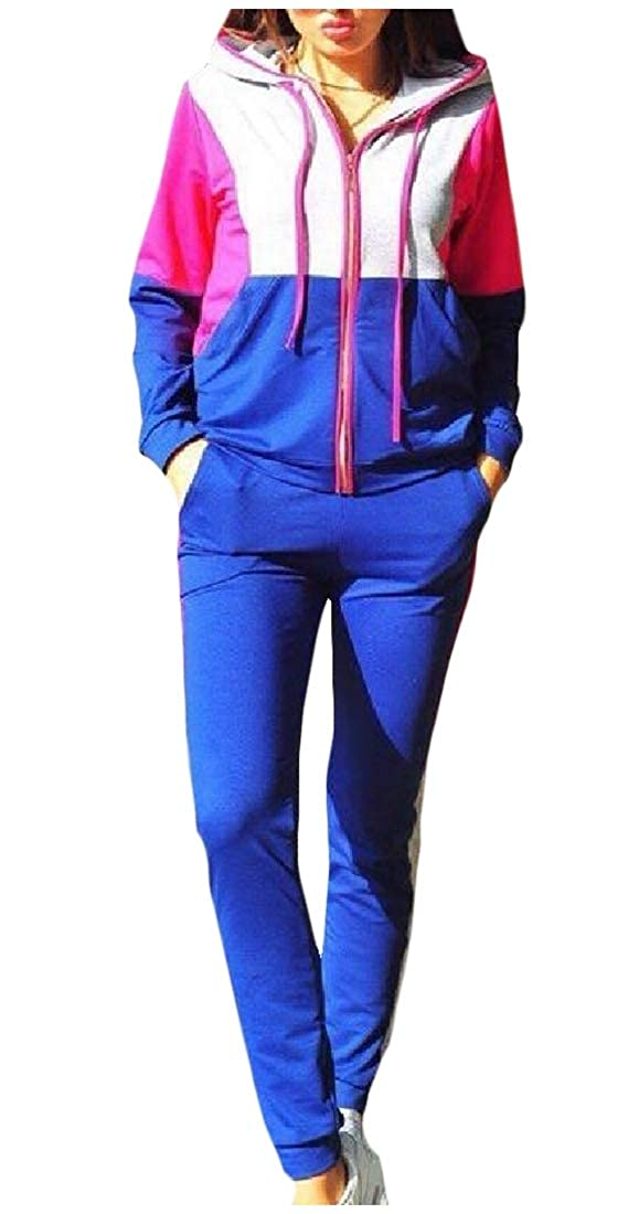 Winwinus Women Full-Zip Spell Color Baggy Hooded Tops Jackets and Sweatpants Sets