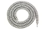 (US) Iced Out Silver 2 ROW Simulated Diamond Chain Necklace 14K Finish - 30
