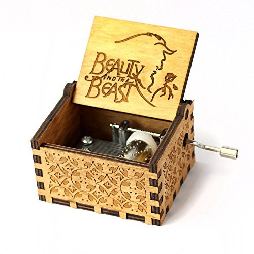 (HOSALA Personalizable Music Box Handmade Engraved Wooden (Wood, Beauty and The Beast))
