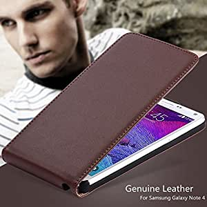 Note4 Flip Retro Genuine Real Leather Cover for Samsung Galaxy Note 4 IV N910 Fashion Men Girl Gift Luxury Black Phone Case --- Color:Pink