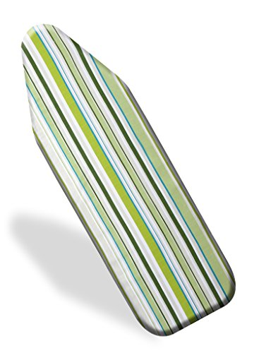 Premium Scorch Resistant Padded Ironing Board Cover - Extra Thick Padding - Heat Reflective - Silicone Coated Pad - 15 x 54 Inch - Green Stripes- By Utopia Home