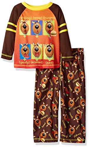 Scooby Doo Boys' Little 2-pc Pajama Set, Long Sleeve Top with Pant, Brown, 4T