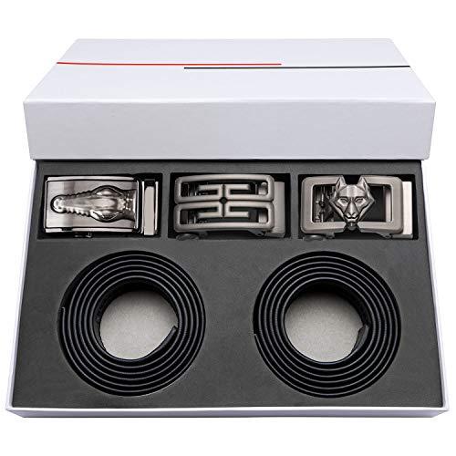- Mens Leather Belt Black/Brown Silver Ratchet Buckles Waist Belt Designer Novelty Gift Set
