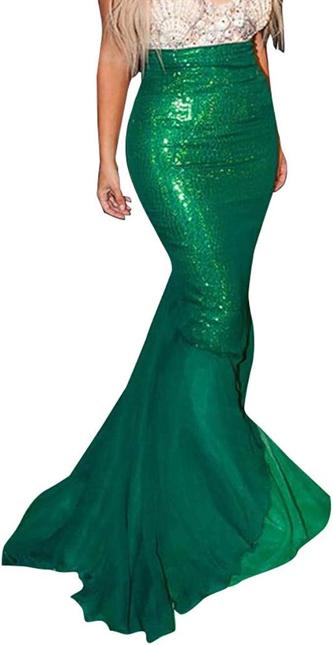 Conquro-falda de Cola de Sirena Verde para Mujer Señoras Flada ...