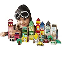 FAO Schwarz 50 Piece International Architecture Building Blocks Set for Kids with Houses, Shops, Roofs, Trees, and Cars; Build Cities, Towns, and More; Multicolor Block Pieces for Children Ages 3+