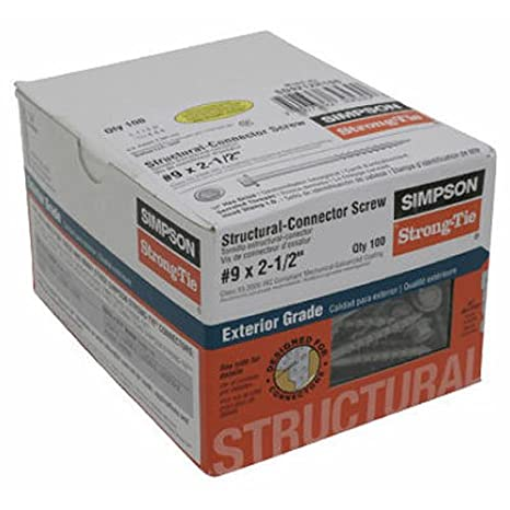 100-Pack Thrее Рack Simpson Structural Screws SD10112R100 No.10 by 1-1//2-Inch Structural-Connector Screw