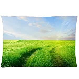 CCTUSGSH Beautiful Natural Scenery Pattern Cotton Throw Pillow Case Decorative Cushion Cover 16 X 24 Inches One Side