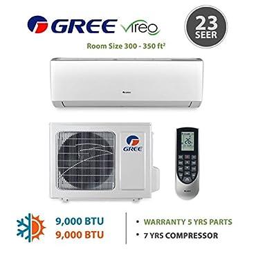 GREE Vireo 9,000 BTU Wall Mounted Ductless Mini Split Heat Pump System 115 VAC