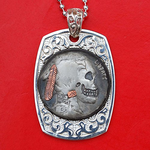 US 1936 Indian Head Hobo Nickel Carved Skull Face Zombie 925 Sterling Silver Dog Tag Necklace