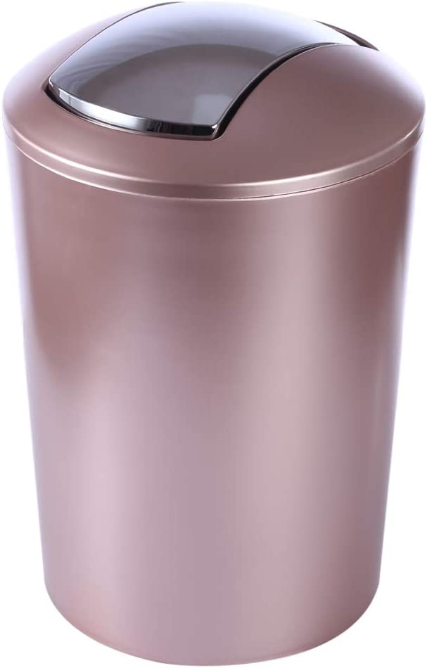 HMANE 6.5L Swing Lid Trash Can,Wastebasket Dustbin Garbage Bin with Swing Top - (Rose Gold)
