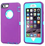 Annymall Case Compatible for iPhone 8 & iPhone 7, Heavy Duty [with Kickstand] [Built-in Screen Protector] Tough 4 in1 Rugged Shorkproof Cover for Apple iPhone 7 / iPhone 8 (Light Purple)