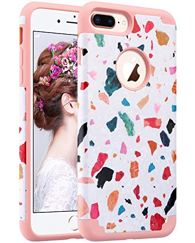 ULAK iPhone 8 Plus Case, iPhone 7 Plus Case, Slim Fit Dual Layer Soft Rubber Silicone Hard Back Cover Anti Scratch Protective Phone Case Compatible iPhone 7 Plus/8 Plus 5.5 - Protective Case Colorful