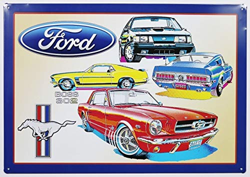 (MMNGT Ford Mustang Boss 302 Tin Sign GT Shelby Fastback Fox Pony Car TIN Sign 7.8X11.8 INCH)