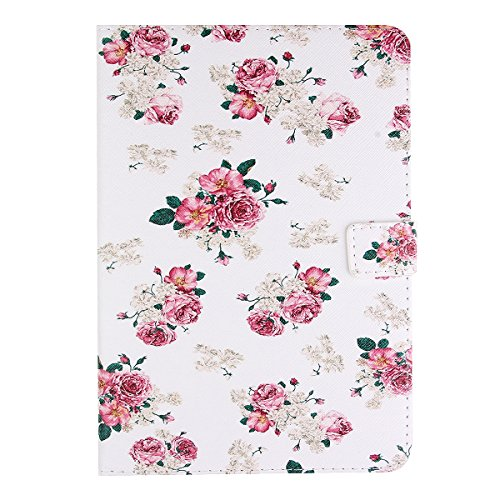 IKASEFU Floral Case for Ipad Mini 2,Girl's Cute Pink Peony PU Leather Folio Case Protective Book Style Flip Cover Case with Stand for Apple Mini/Ipad mini 2/Ipad mini-Pink Peony - Contour Leather Folio Case