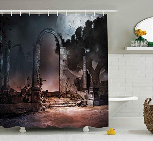 Ambesonne Gothic Decor Shower Curtain by, Dark Night Dracula