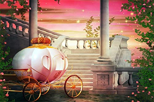 CSFOTO 5x3ft Background Pumpkin Carriage Dreamy Night Photography Backdrop Palace Stairs Stone Steps Pink Flowers Fantasy Fairy Tale Child Kid Girl Portrait Photo Studio Props Polyester Wallpaper