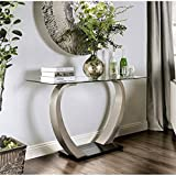 Cheap Furniture of America Navarre Glass Top Console Table in Satin