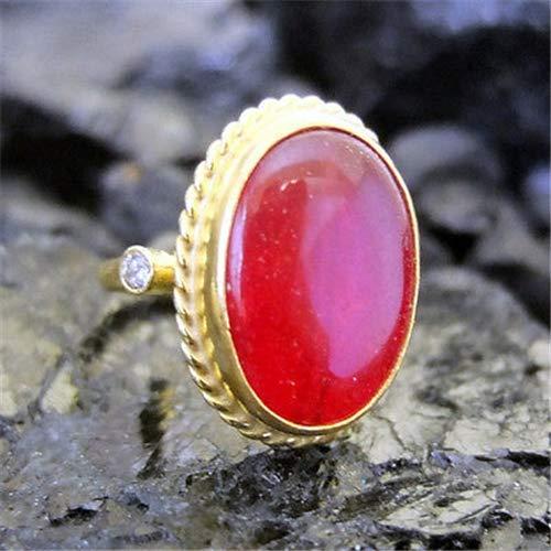 Ancient Design Handmade Hammered Designer Glass Filled Ruby Ring 22K Gold Over Sterling Silver ()