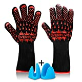 Heat Resistant Oven Gloves, Overfly Grill Gloves for BBQ Grilling Cooking Barbecue Baking - Extra Large, Long Cuff