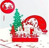 DECORA 3 Set 3D Pop-up Laser Cut Christmas Greeting Holiday Cards--Christmas Tree, Christmas Tree And Santa, Sled And Reindeers.
