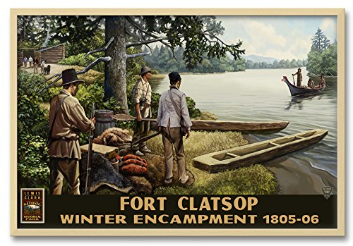 Northwest Art Mall Lewis & Clark With Indians Lewis and Clark National Park Astoria Oregon Professionally Framed Wall Decor by Paul A. Lanquist. Print Size: 24