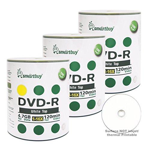 Smartbuy 300-disc 4.7gb/120min 16x DVD-R White Top Blank Data Recordable Media Disc by Smartbuy