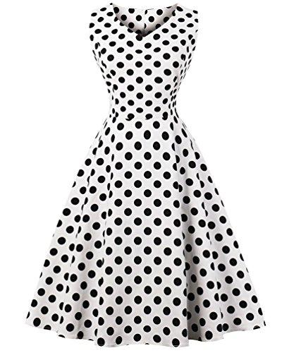 VERNASSA 1950s Vestidos para Mujer, 50s Vestido Retro con Estilo del Oscilación de la Tarde de la Vendimia del Baile de Fin de Curso del Club del Coctel del Algodón del Estilo de Hepburn 1620-puntos Blancos