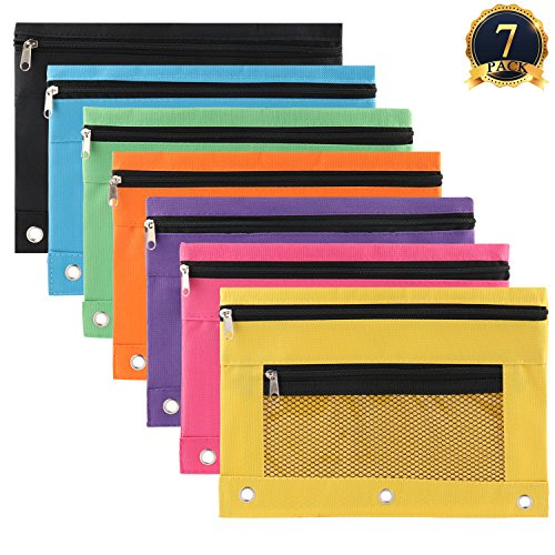 (SUBANG 7 Pack Zipper File Bags 3-Ring Pencil Pouch Zipper Pencil Case for The Collection of Office and Personal Supplies, 7Colors)
