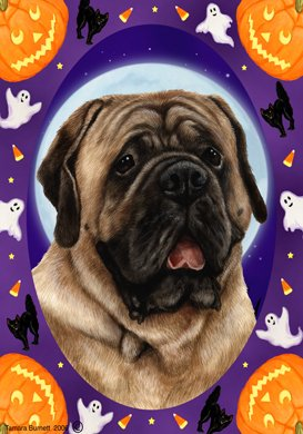Mastiff Fawn – Tamara Burnett Halloween Howls Large Flag