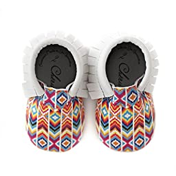 Rainbow Bright • 100% American leather moccasins for babies & toddlers • Crib shoes sizes 0-3 months • Made in US
