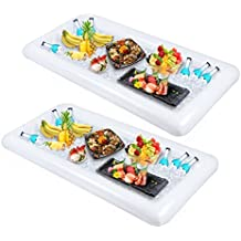 2 PCS Inflatable Serving/Salad Bar Tray Food Drink Holder -- BBQ Picnic Pool Party Buffet Luau Cooler,with a drain plug