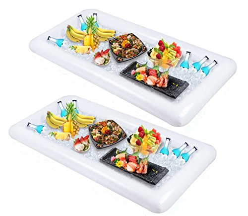 2 PCS Inflatable Serving/Salad Bar Tray Food Drink Holder - BBQ Picnic Pool Party Buffet Luau Cooler,with a drain -