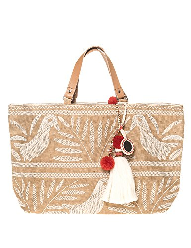 Star Mela Women's Isi Emb Tote Women's Beige Embroidered Tote Beige by STAR MELA