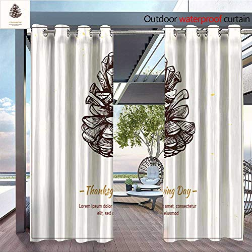 Balcony Curtains Hand Drawn Vector Illustration Thanksgiving Day Pine Cone Outdoor Patio Curtains Waterproof with Grommets W96 x ()
