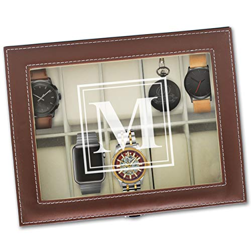 Customized Brown Watch Storage Box with Initial - Groomsman Wedding Father's Day Gift - Personalized Engraved Monogrammed - Leather Brown Box Watch