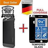 iPhone 6 PLUS & 6S PLUS [5.5] [Aluminum Alloy] Case + [FULL BODY] Black [Tempered Glass] Screen Protector [Impact Resistant] Anti Shock [Absorbent Bumper] PVC [INO Metal] Cover [Motomo] Black