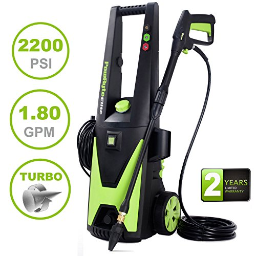 PowRyte Elite 2100PSI 1.80GPM Electric Pressure Washer with Extra Turbo Nozzle,Tall Handle